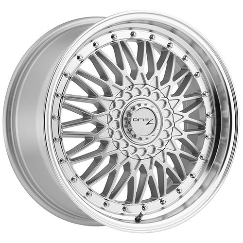 Drifz Wheels Retro Mirror Machined Lip with Titanium Silver Center