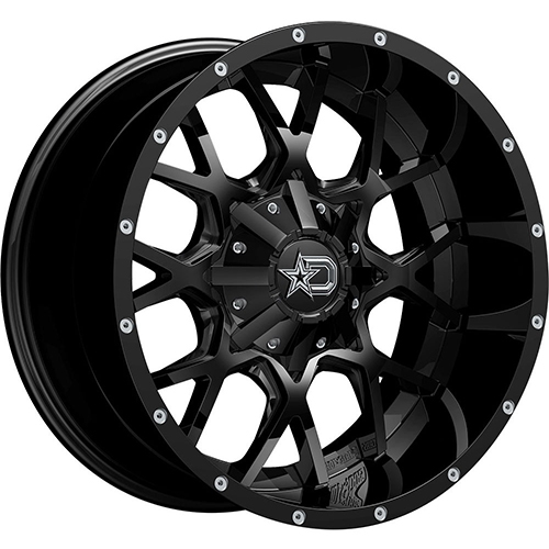 Dropstars Wheels 645B Satin Black with CNC Milled Lip Accents and Chrome D-Star Cap