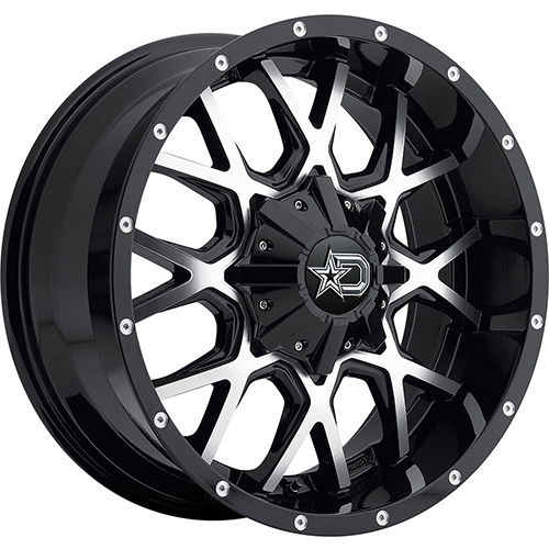 Dropstars Wheels 645MB Gloss Black with Mirror Machined Face and Chrome D-Star Cap
