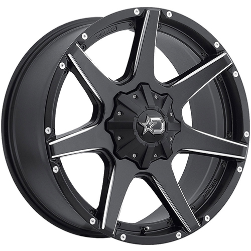 Dropstars Wheels 647BM Satin Black with CNC Milled Accents and Chrome D-Star Cap