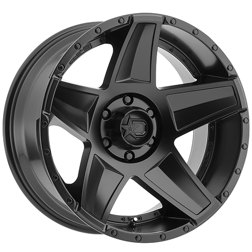 Dropstars Wheels 648BB Satin Black With Gloss Black Lip-Edge Bolts and Gloss Black D-Star Logo