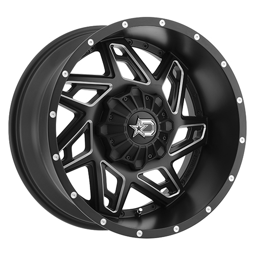 Dropstars Wheels 652BM Satin Black with CNC Milled Accents and Chrome D-Star Cap