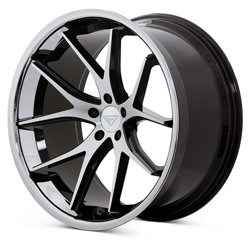 Ferrada Wheels FR2 Machine Black with Chrome Lip