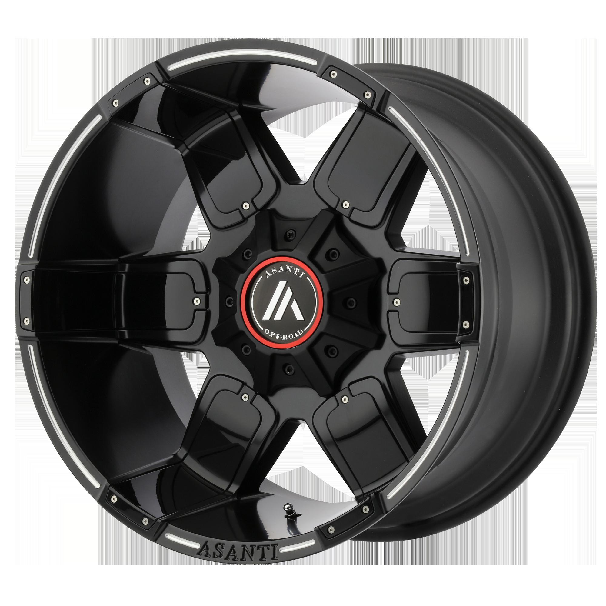 Asanti Off-Road Wheels AB811 Satin Black Milled w/ Gloss Black Accents