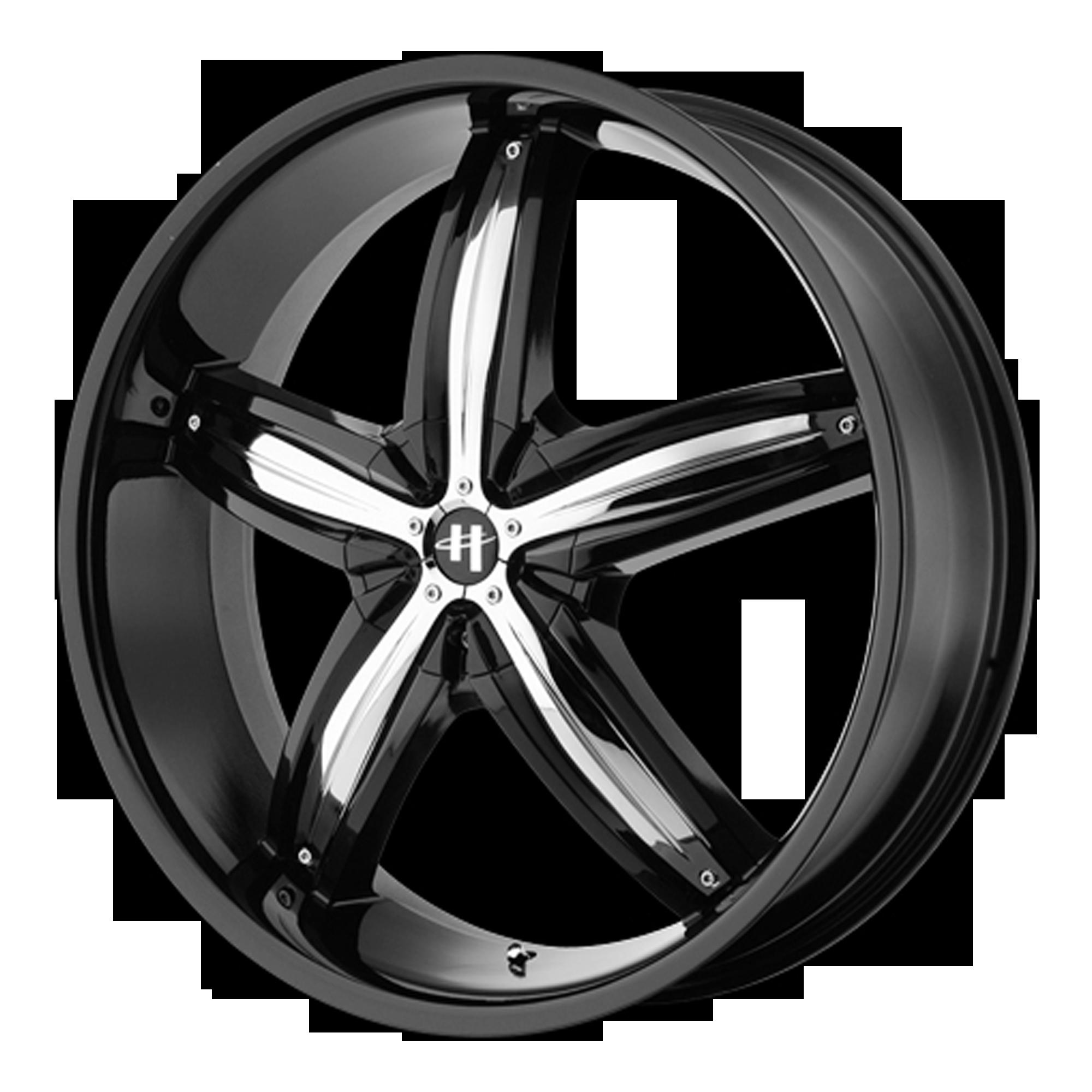 Helo Wheels HE844 Gloss Black w/ Chrome Accents
