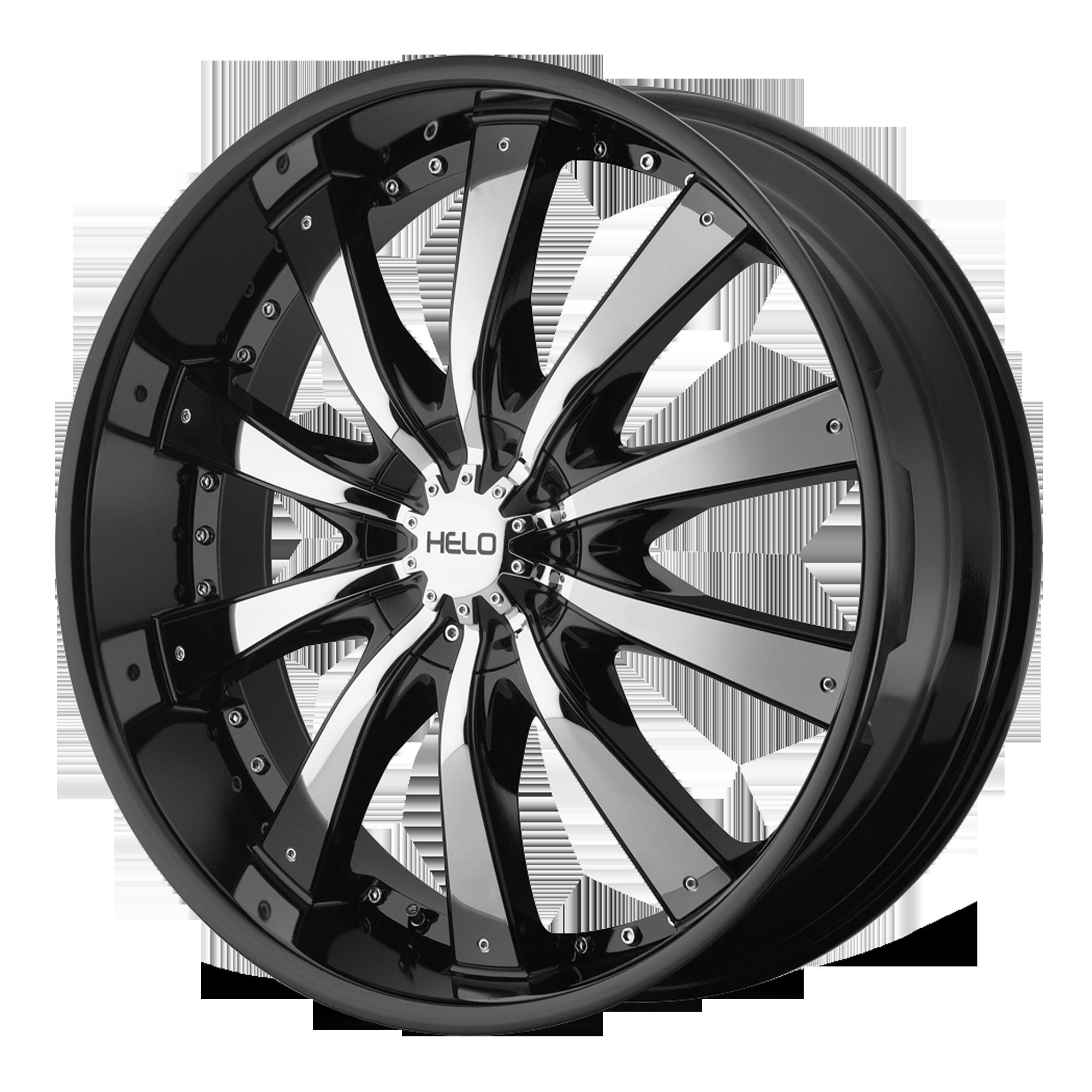 Helo Wheels HE875 Gloss Black w/ Chrome Accents