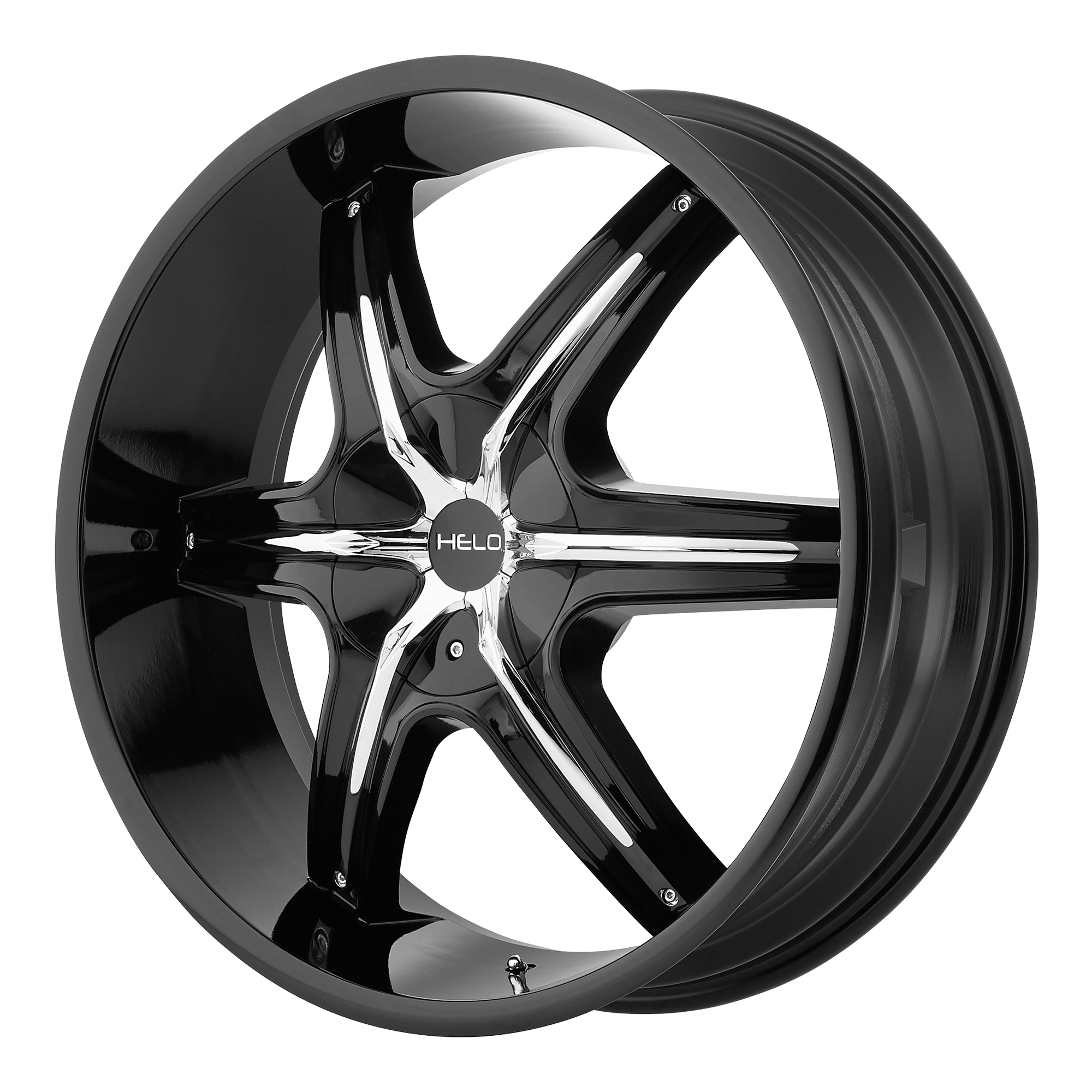 Helo Wheels HE891 Gloss Black w/ Gloss Black and Chrome Accents
