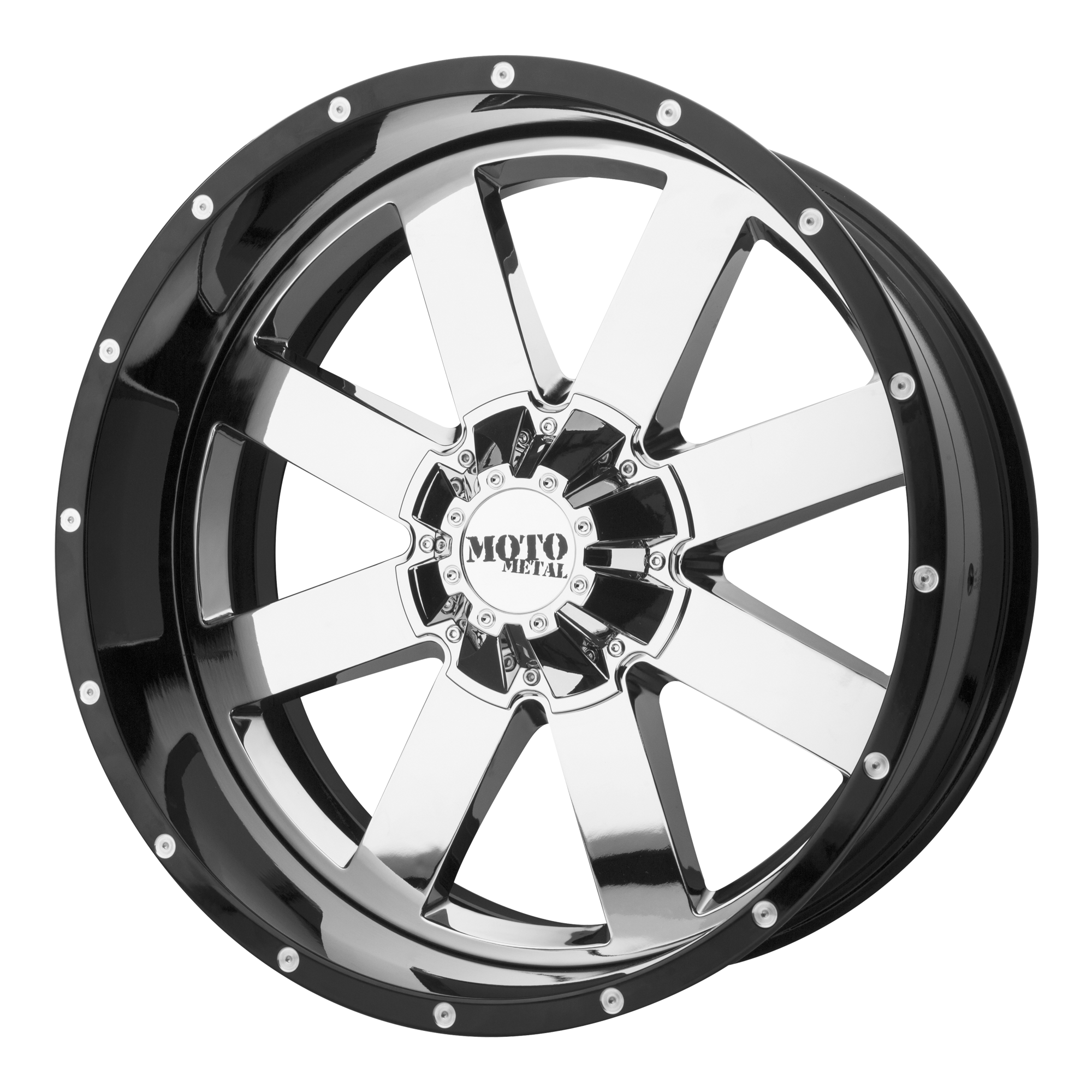 Moto Metal Offroad Wheels MO200 Chrome CENTER w/ Gloss Black Milled Lip