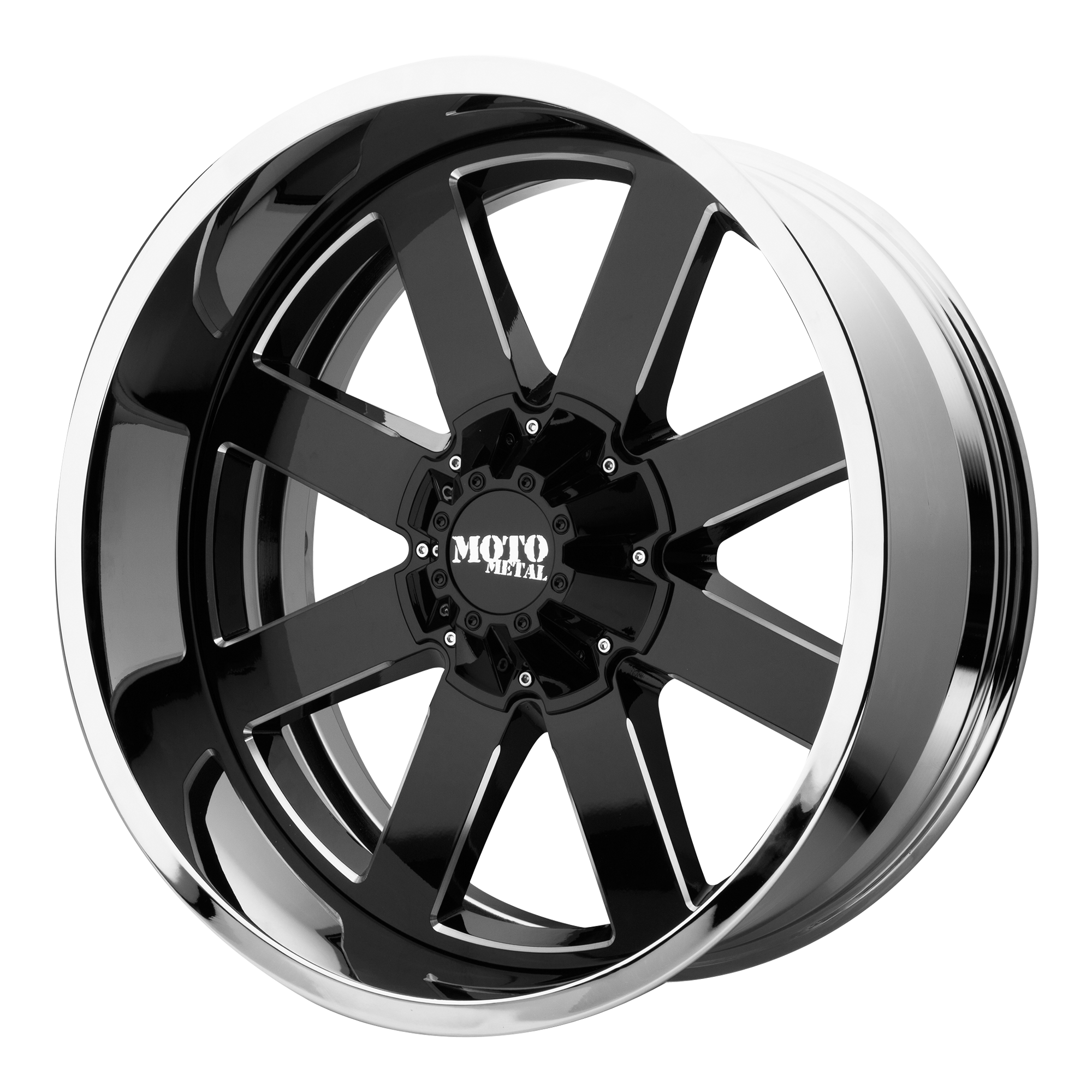 Moto Metal Offroad Wheels MO200 Gloss Black Milled CENTER w/ Chrome Lip