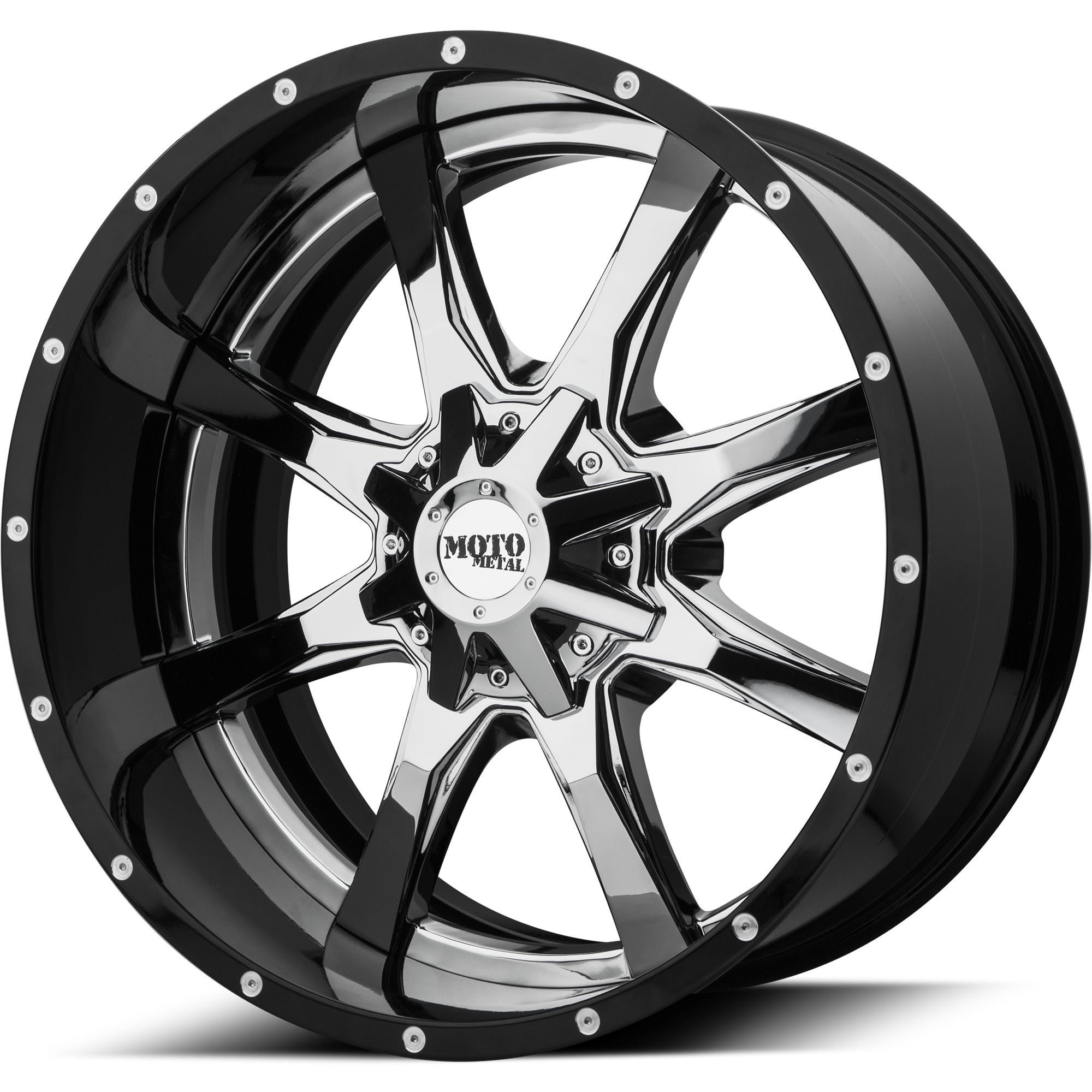 Moto Metal Offroad Wheels MO201 Chrome CENTER w/ Gloss Black Milled Lip