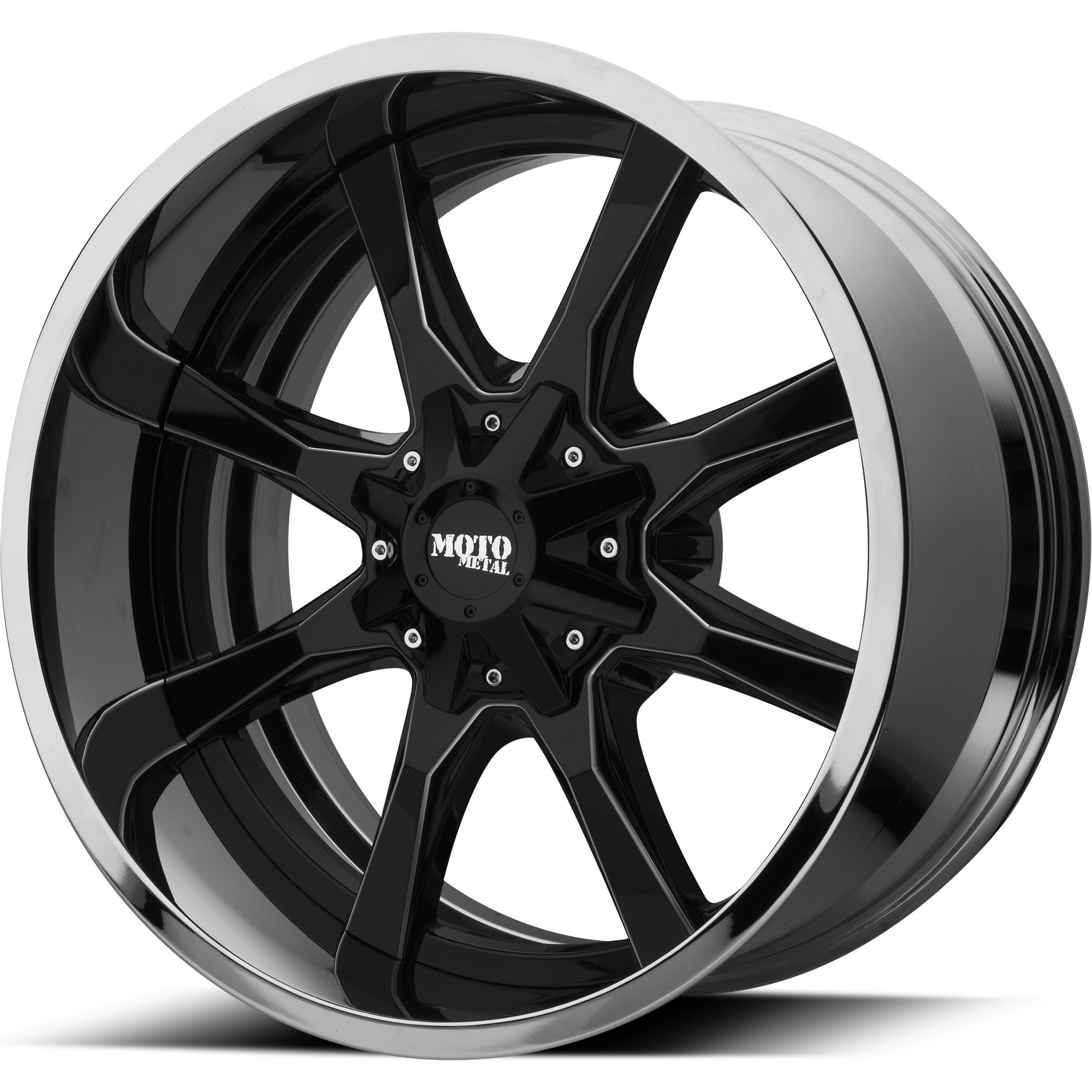 Moto Metal Offroad Wheels MO201 Gloss Black Milled CENTER w/ Chrome Lip