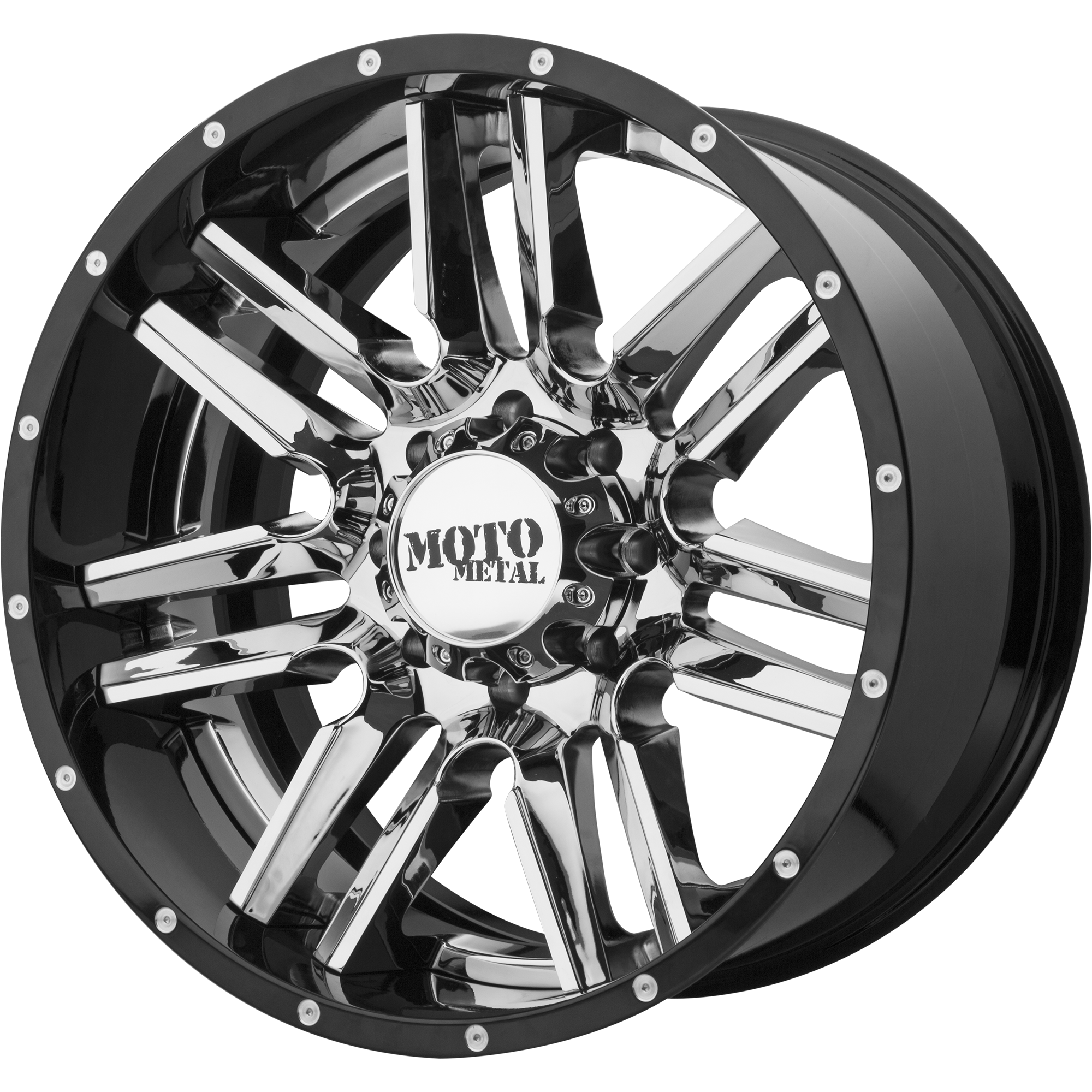 Moto Metal Offroad Wheels MO202 Chrome CENTER w/ Gloss Black Milled Lip