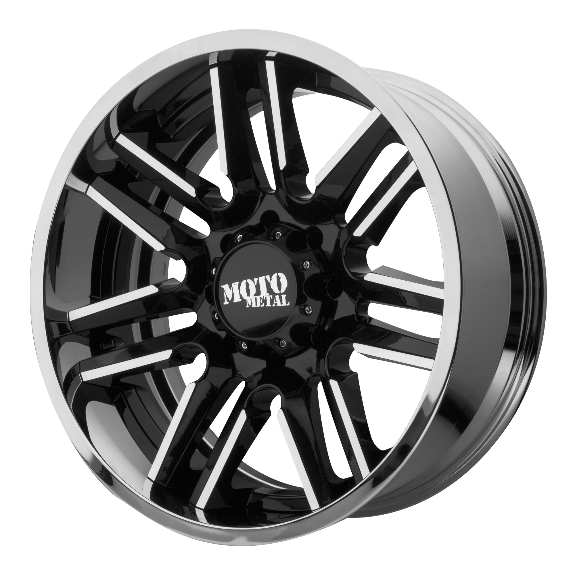 Moto Metal Offroad Wheels MO202 Gloss Black Machined CENTER w/ Chrome Lip