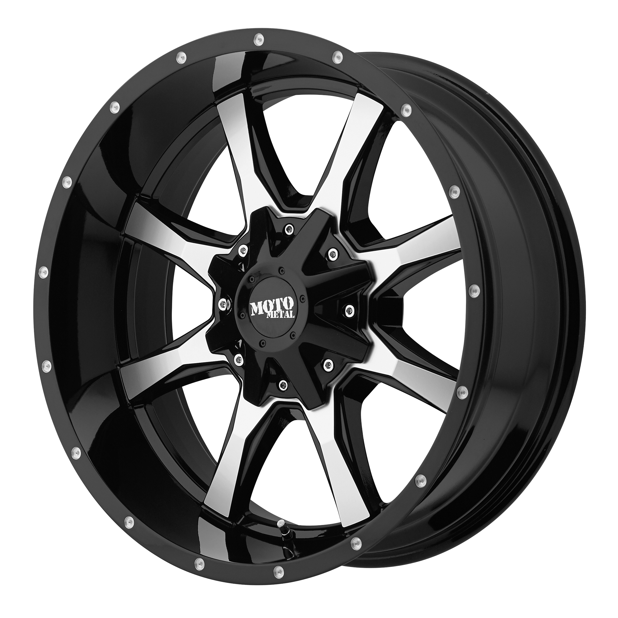 Moto Metal Offroad Wheels MO970 Gloss Black w/ Machined Face