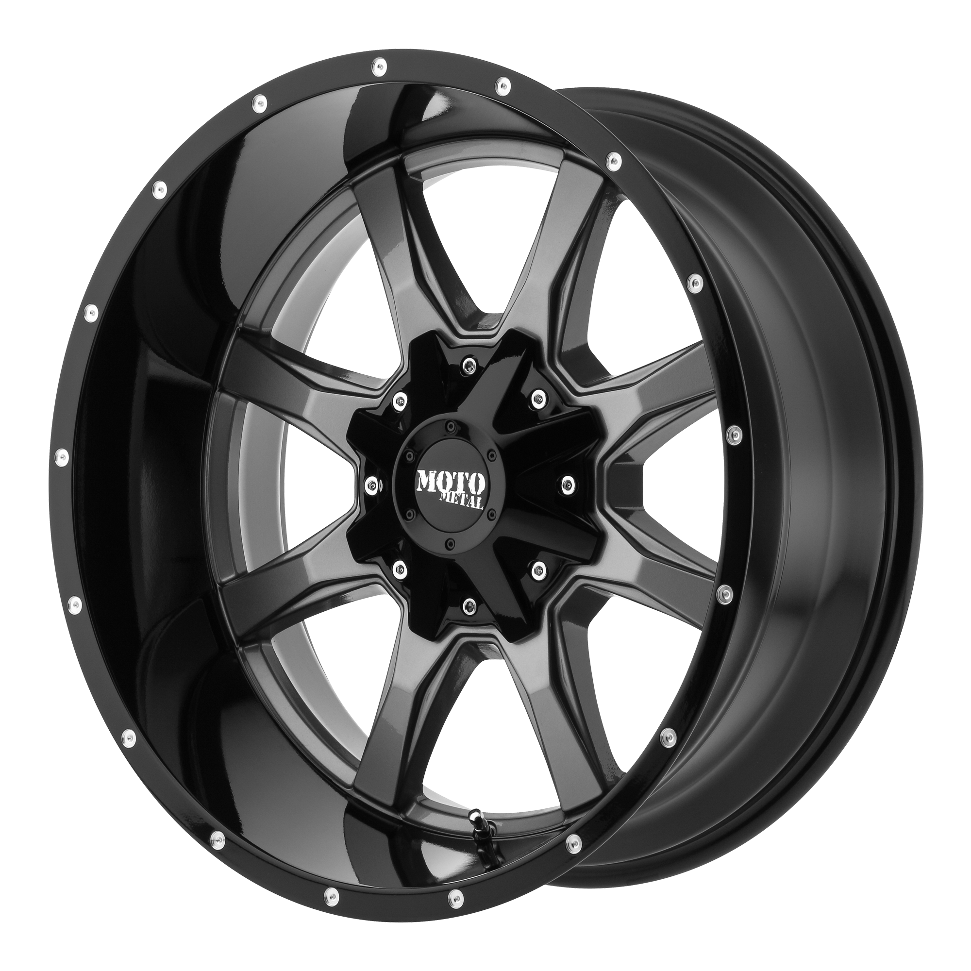 Moto Metal Offroad Wheels MO970 GLOSS GREY CENTER w/ Gloss Black Lip