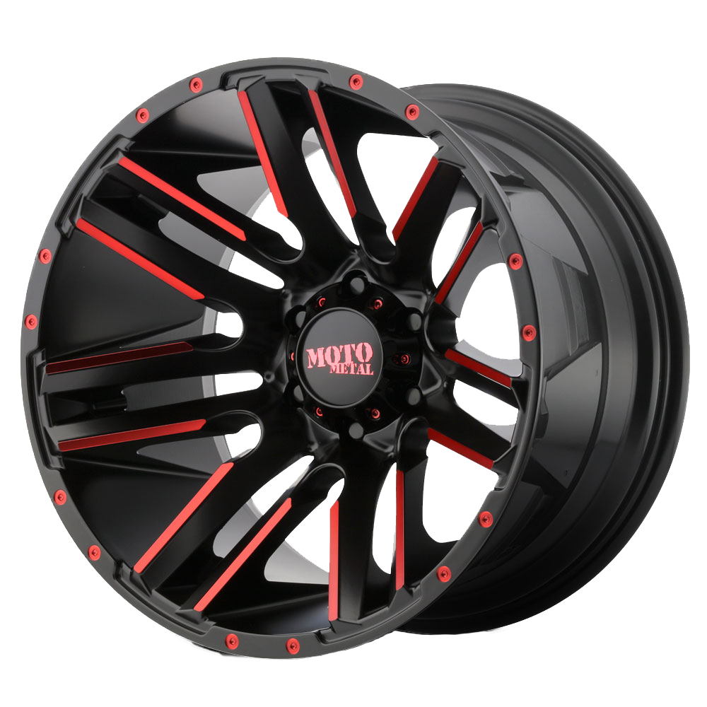 Moto Metal Offroad Wheels RAZOR Satin Black Machined w/ RED Clear Coat