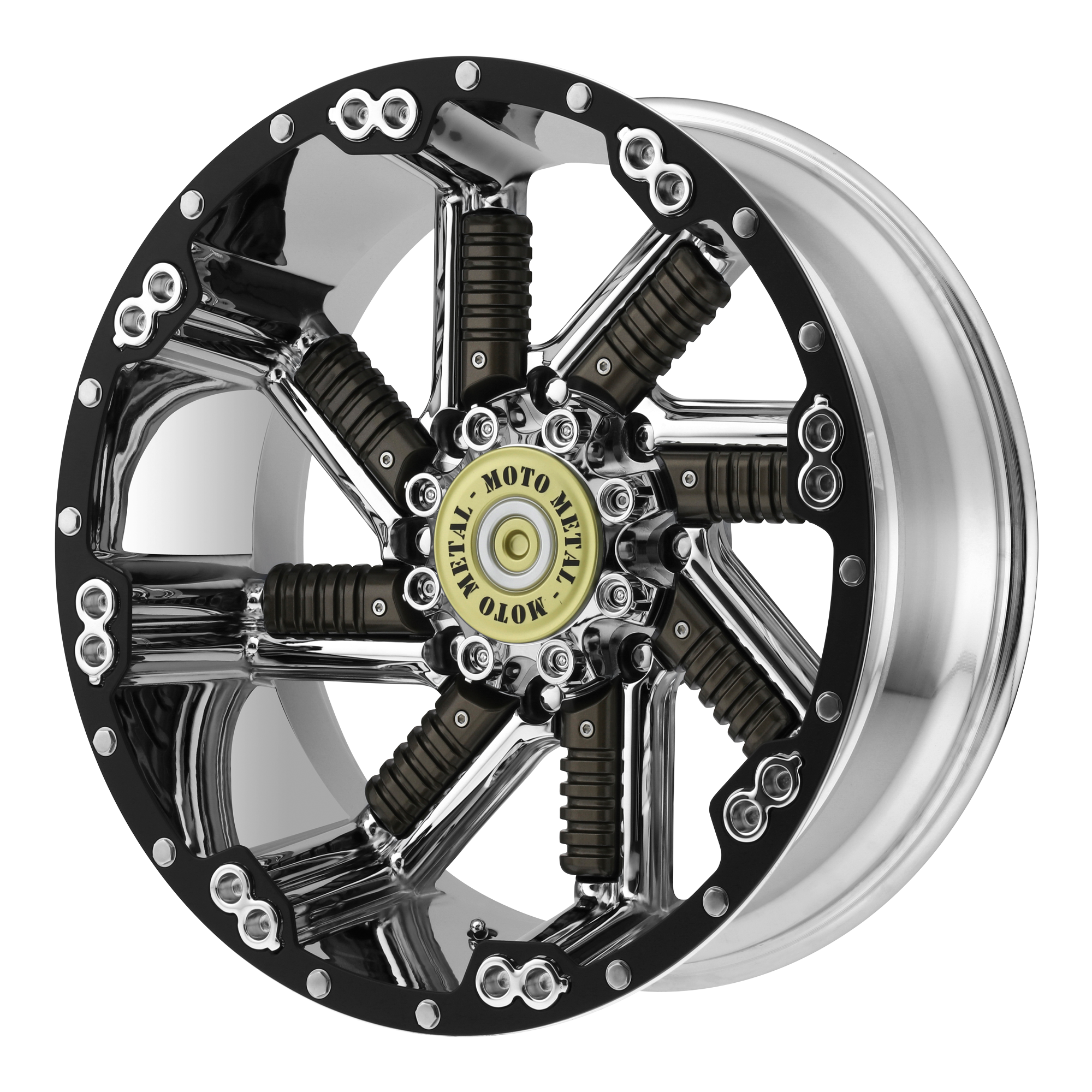 Moto Metal Offroad Wheels BUCKSHOT Chrome w/ GUN METAL INSERTS