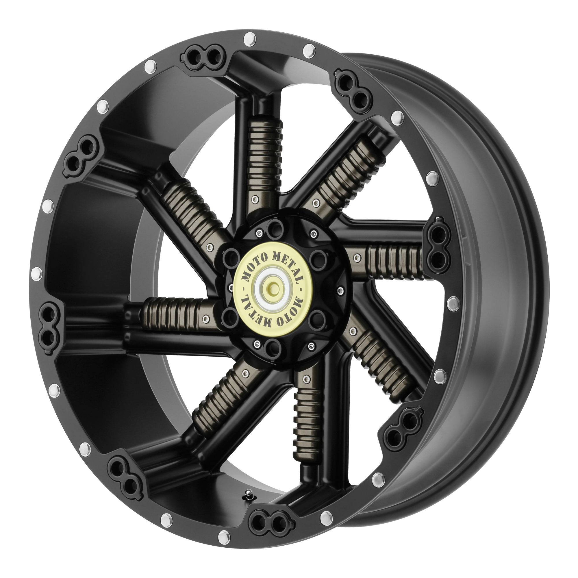Moto Metal Offroad Wheels BUCKSHOT Satin Black w/ GUN METAL INSERTS
