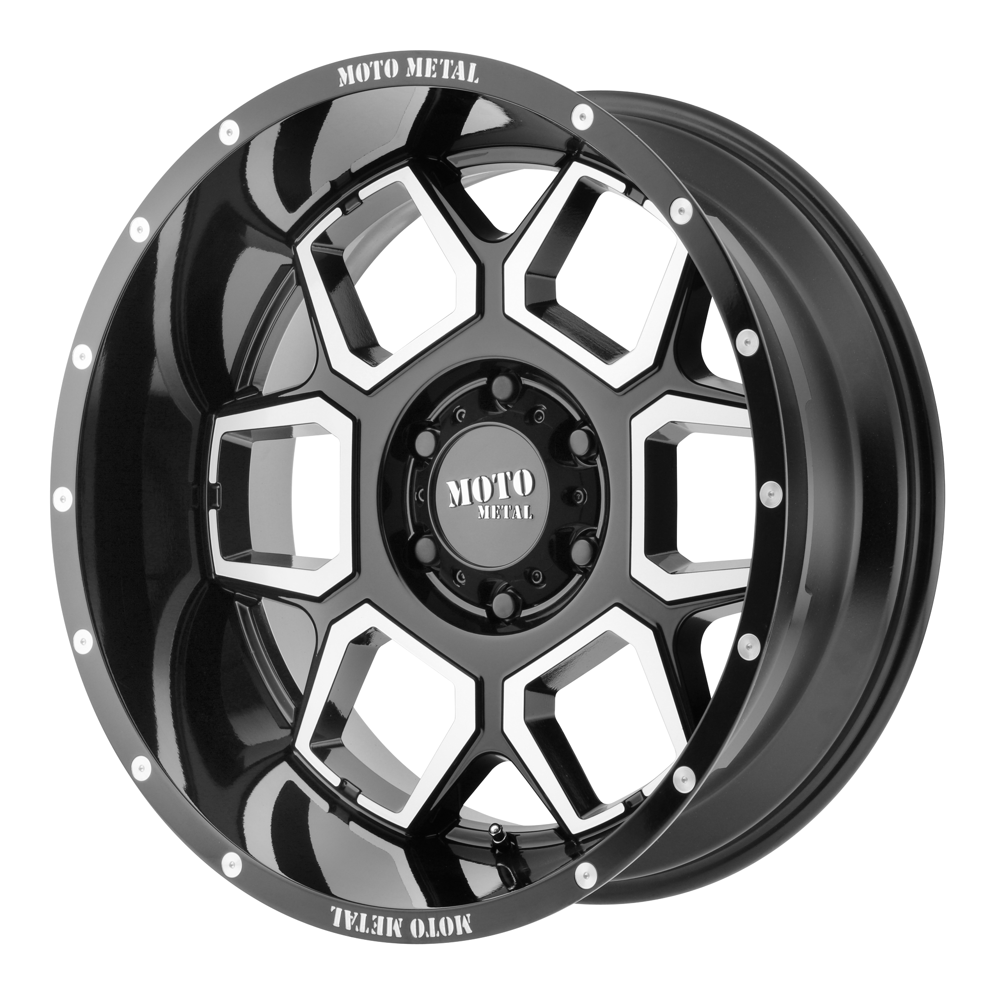 Moto Metal Offroad Wheels SPADE Gloss Black Machined