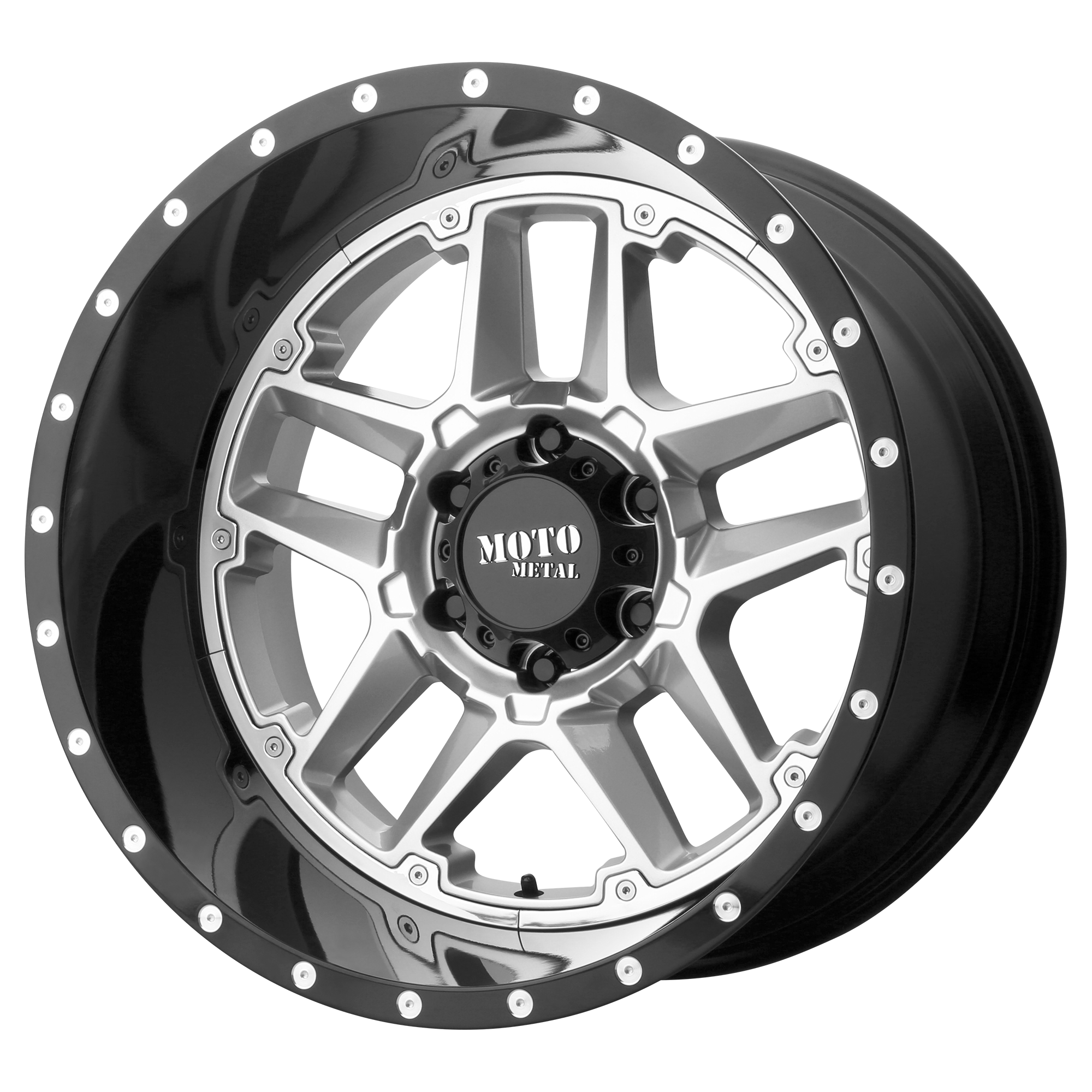 16x8 Moto Metal Offroad Wheels SENTRY GLOSS Silver CENTER w/ Gloss Black Lip