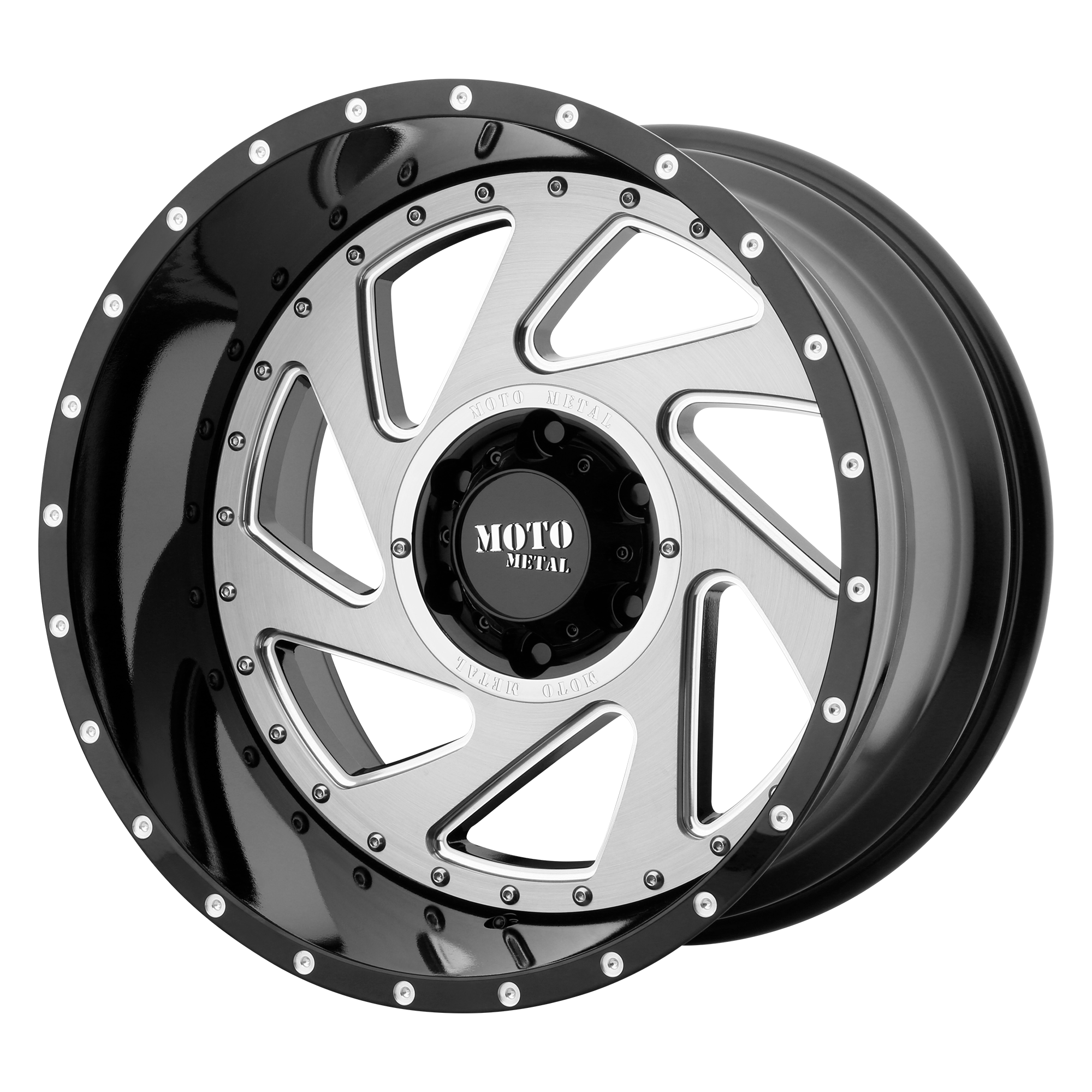 Moto Metal Offroad Wheels CHANGE UP Gloss Black Milled w/ Brushed INSERTS