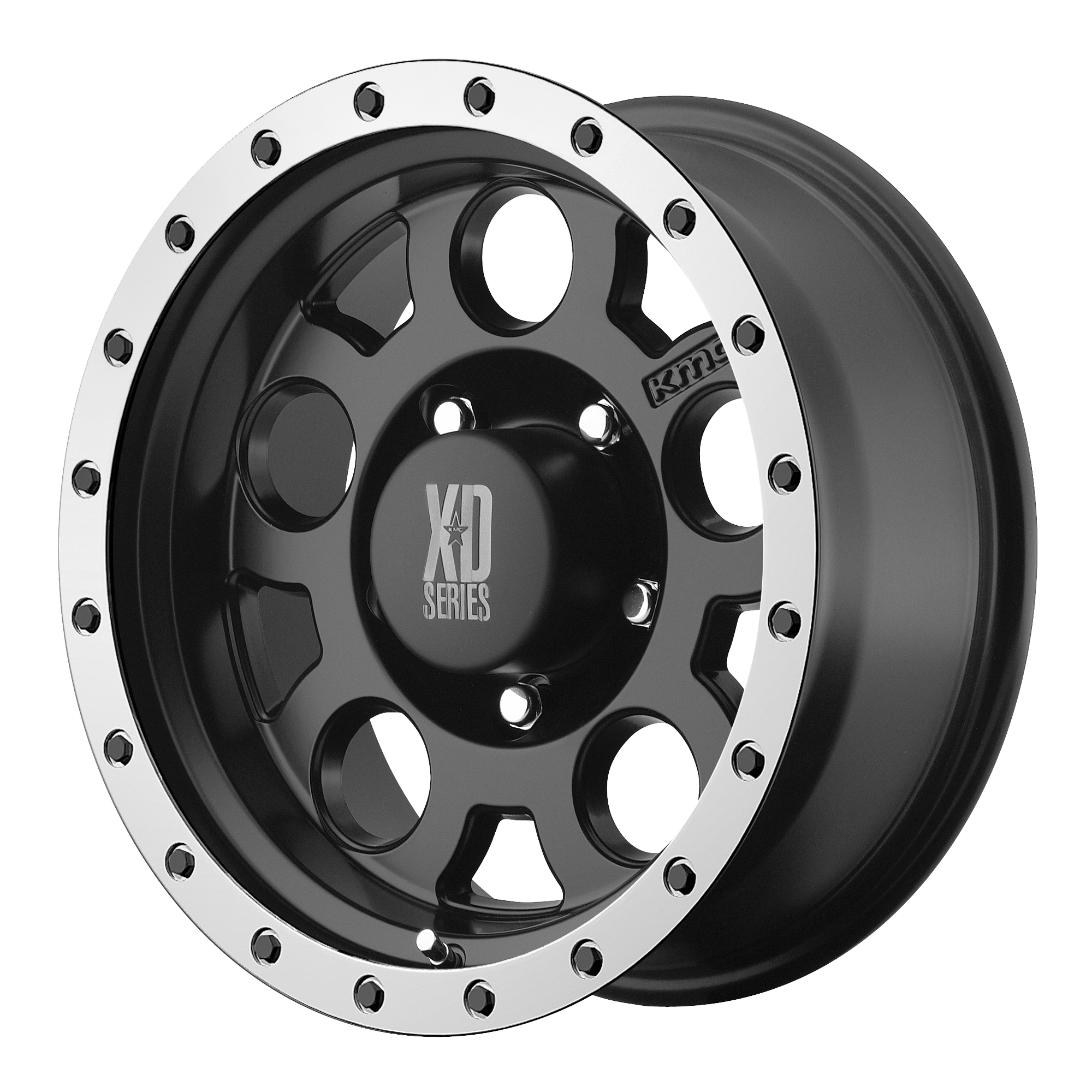 XD Series by KMC Wheels XD125 Matte BLK w/ MACH. BEAD RING