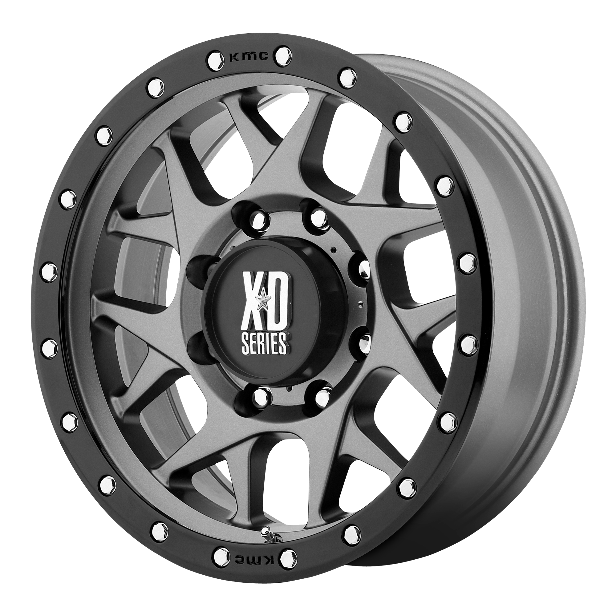 XD Series by KMC Wheels BULLY Matte Gray w/ Black RING