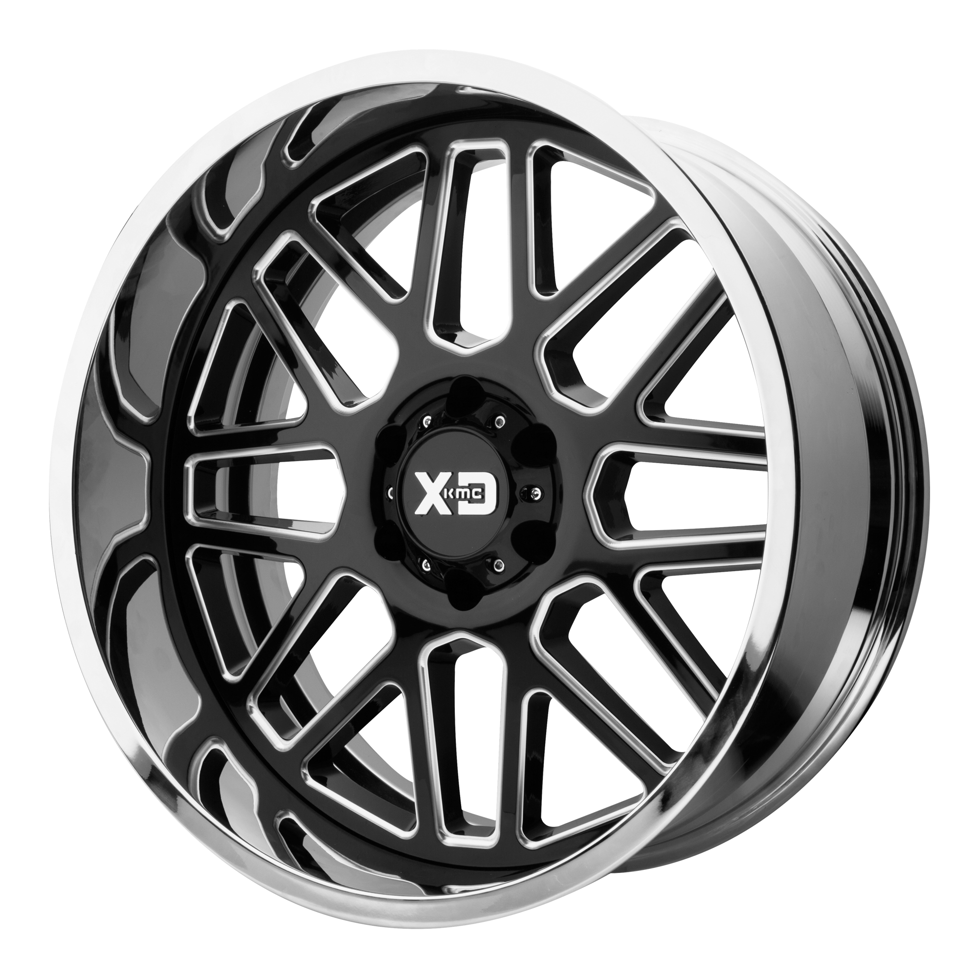 XD Series by KMC Wheels GRENADE Gloss Black Milled Center w/ Chrome Lip