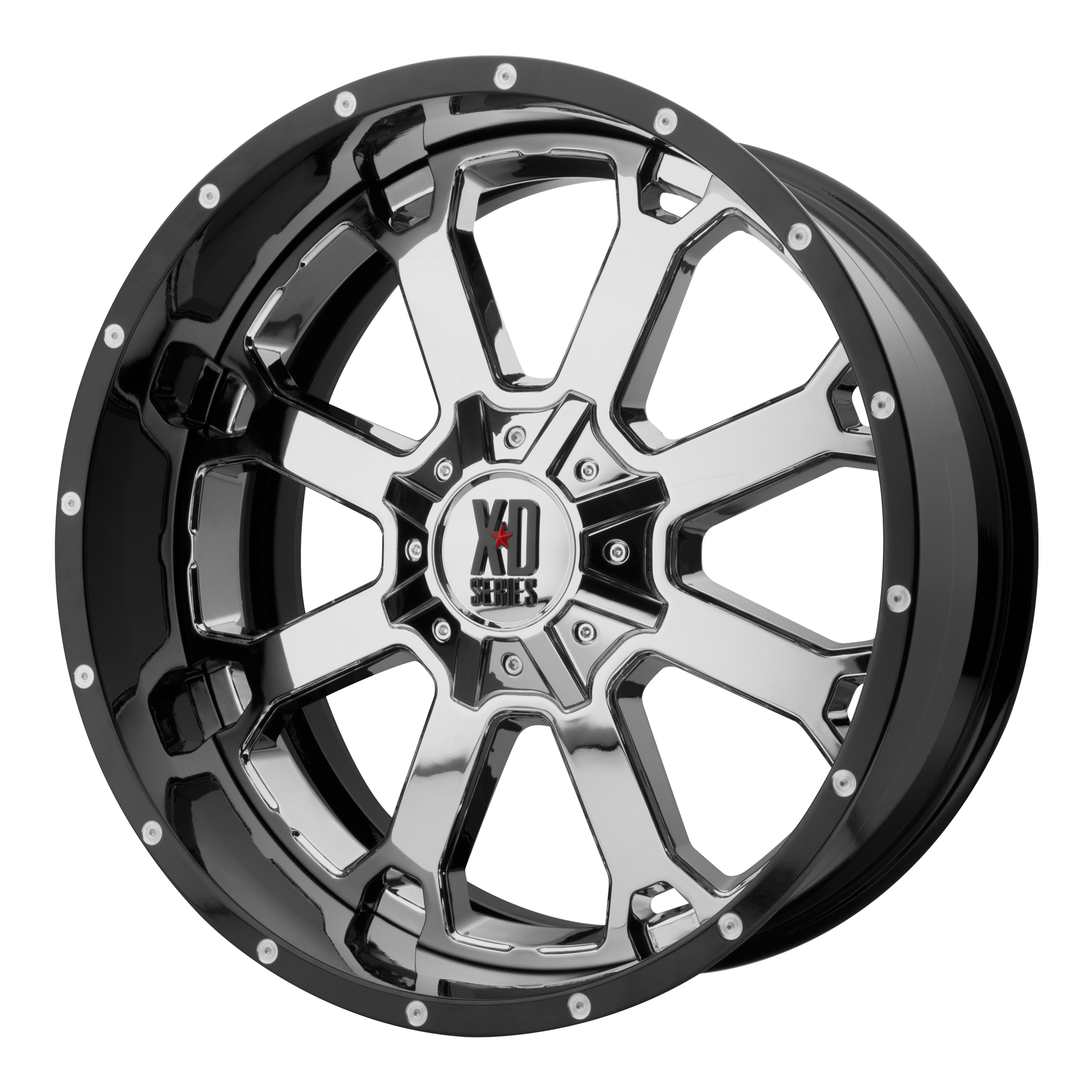 XD Series by KMC Wheels BUCK 25 Chrome Center w/ Gloss Black Milled Lip