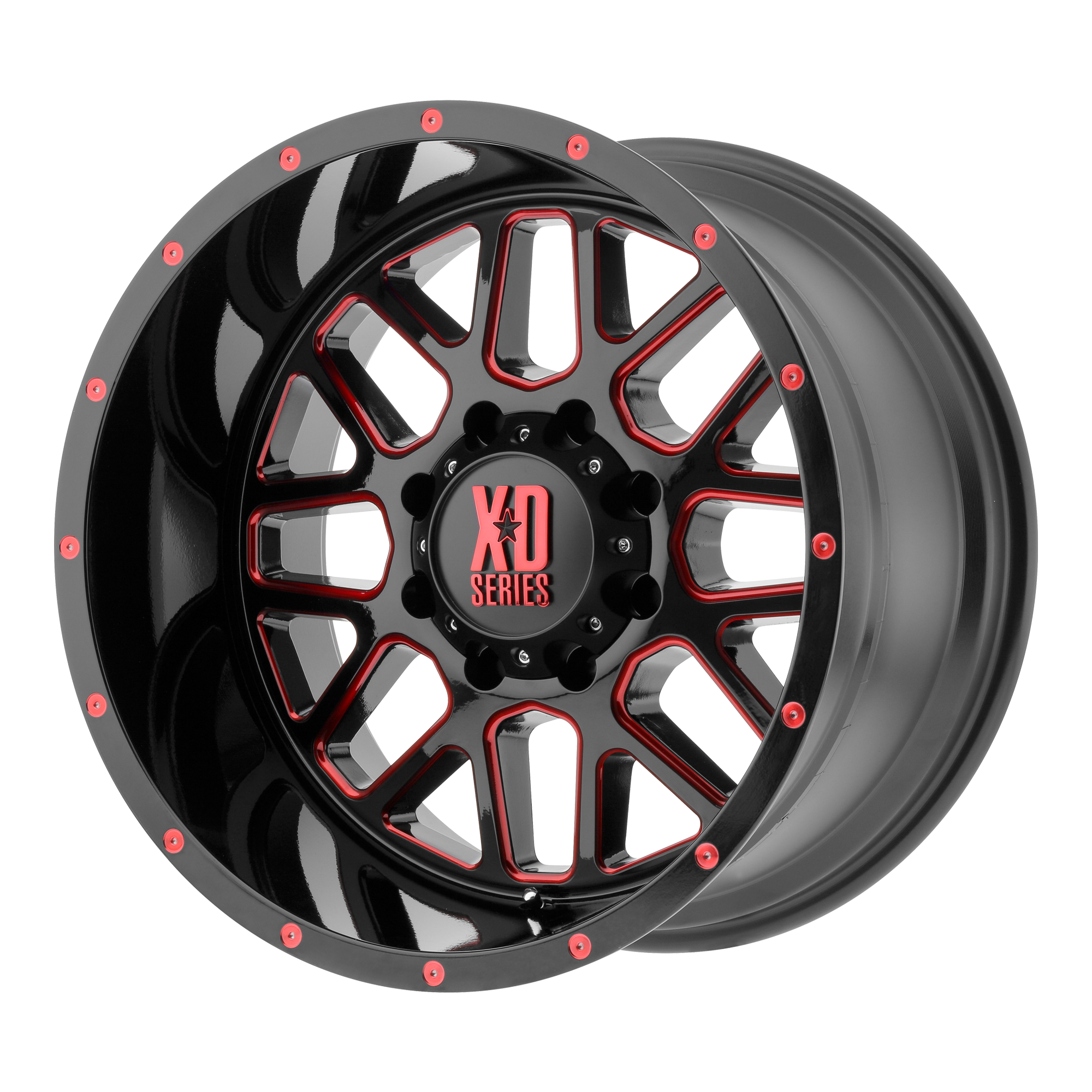 XD Series by KMC Wheels GRENADE Satin Black Milled w/ RED Tinted Clear Coat