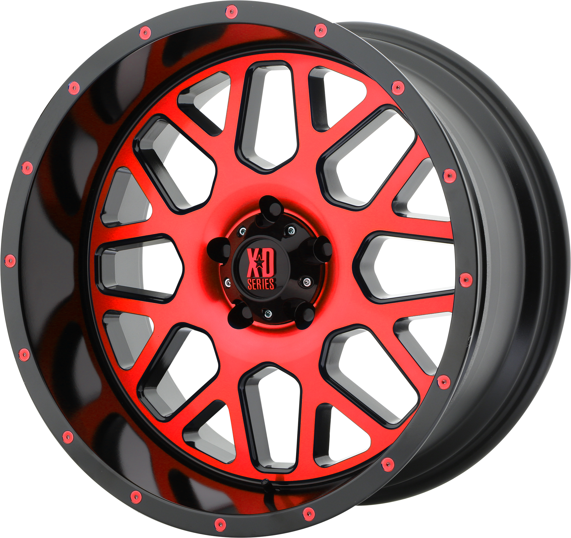 XD Series by KMC Wheels GRENADE Satin Black MACH Face w/ RED Tinted Clear Coat