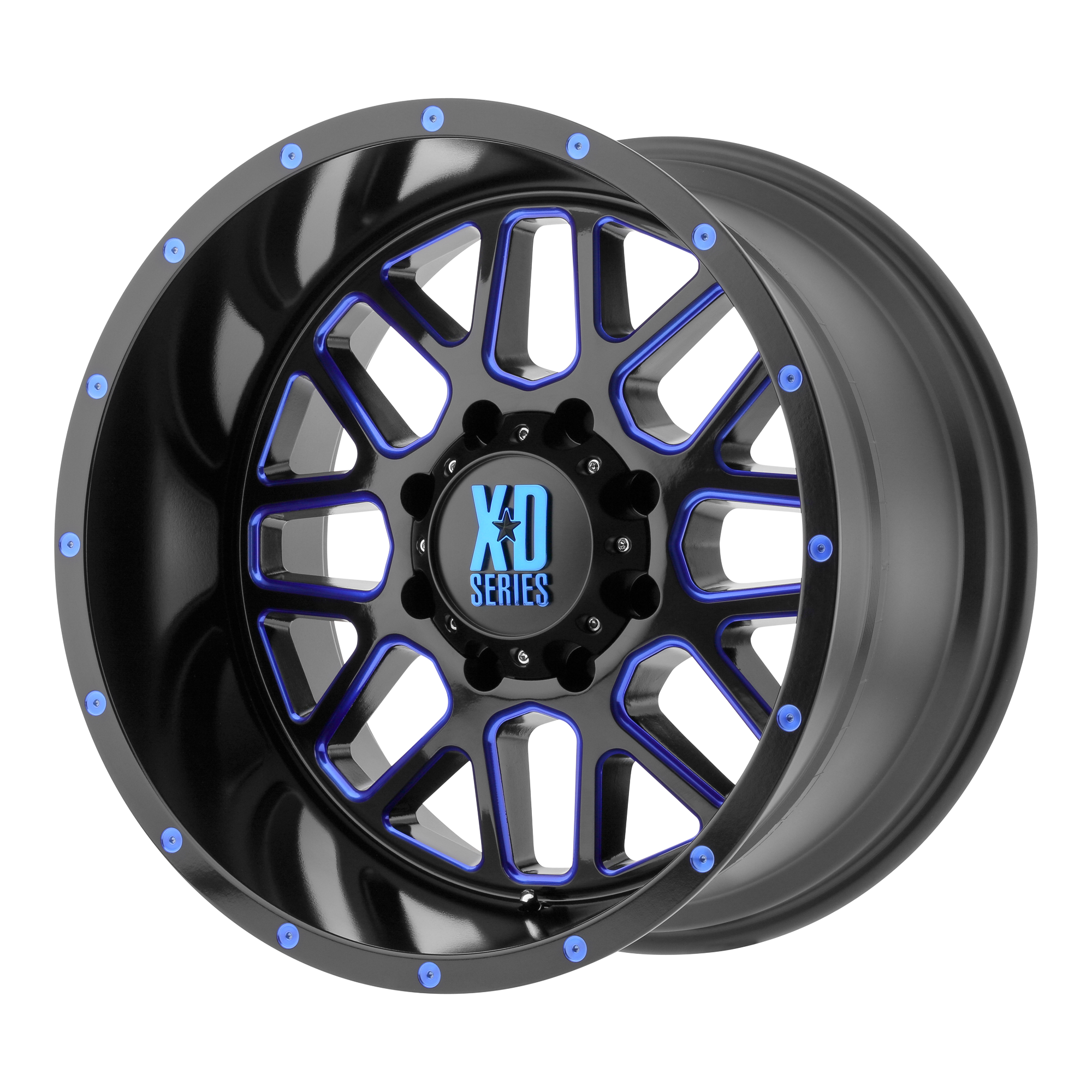 XD Series by KMC Wheels GRENADE Satin Black Milled w/ BLUE Tinted Clear Coat