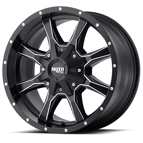 Moto Metal Offroad Wheels MO970 Semi Gloss Black With Milled Spokes and Accents