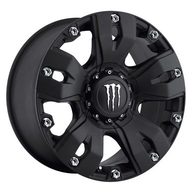 20x9 Monster Energy Offroad Wheels 642B Monster Satin Black Chrome Bolts