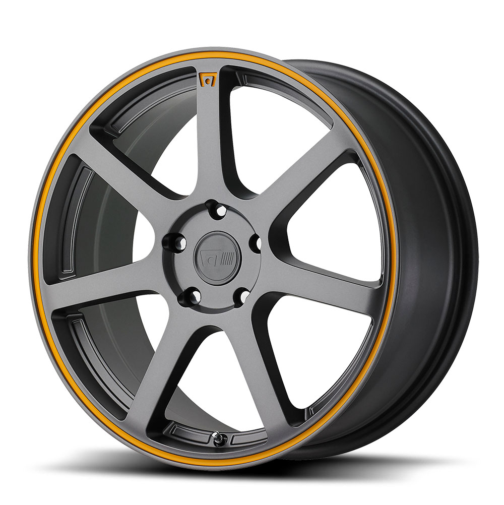 Motegi Racing Wheels MR132 Matte Gray w/ Orange Stripe on Flange