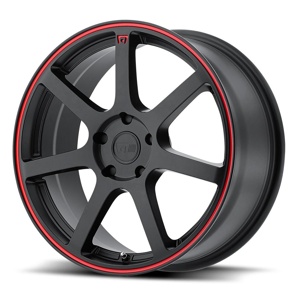 Motegi Racing Wheels MR132 Matte Black w/ Red Stripe on Flange