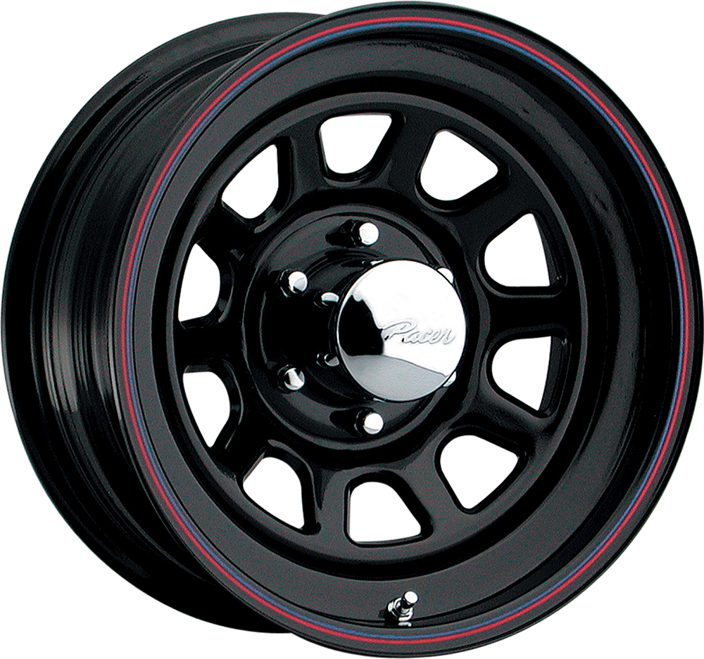 Pacer Wheels Blk Daytona Black With Red And Blue