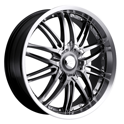 Platinum Wheels 200 Apex Hyper Black w/ Diamond Cut Lip