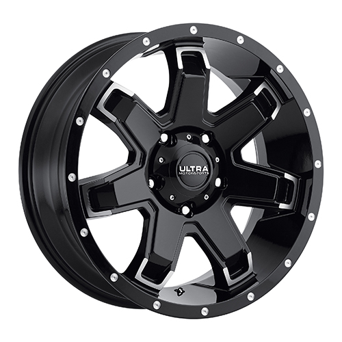 18x9 Ultra Wheels 209 Bent-7 Gloss Black w/ Diamond Cut Accents