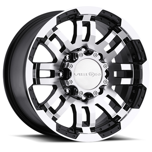 Vision Wheels 375 Warrior Gloss Black Machined Face