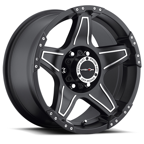 Vision Wheels 395 Wizard Matte Black Machined Face