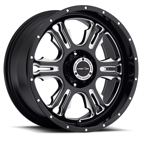 Vision Wheels 397 Rage Gloss Black Milled Spokes