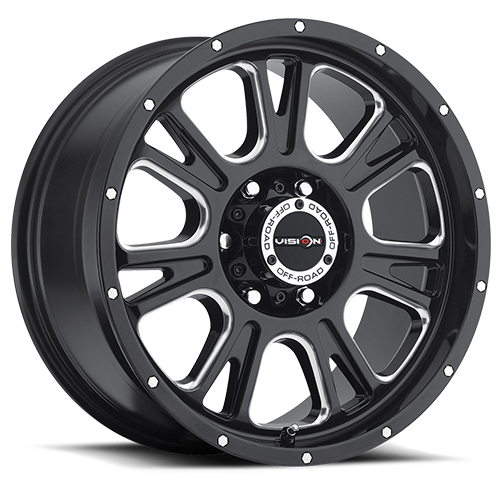 Vision Wheels 399 Fury Gloss Black Milled Spokes