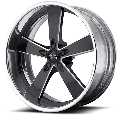 American Racing Wheels VN472  Burnout 2- Piece Black Milled Center with Polished Rim
