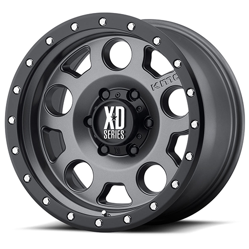 XD Series by KMC Wheels XD126 Enduro Pro Matte Gray W Black Reinforcing Ring