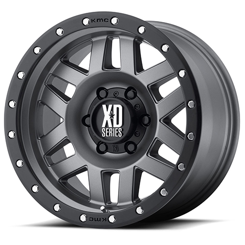 XD Series by KMC Wheels XD128 Machete Matte Gray W Black Reinforcing Ring
