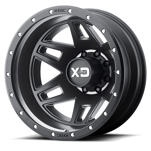 XD Series by KMC Wheels XD130 Machete Dually Satin Black With Reinforcing Ring