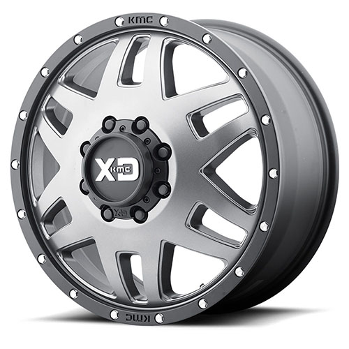XD Series by KMC Wheels XD130 Machete Dually Matte Gray W Black Reinforcing Ring