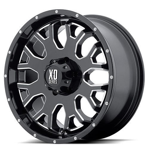 XD Series by KMC Wheels XD808  Menace Gloss Black With Milled Accents