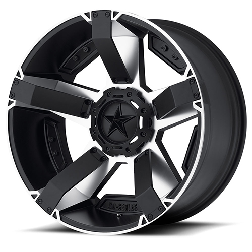 Rockstar by KMC Wheels XD811 Rockstar II Machined Face With Satin Black Windows